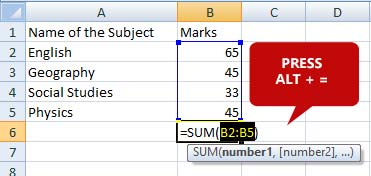 sum-of-column-shortcut-key